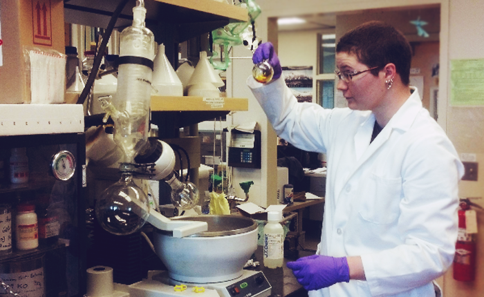 The author working in a chemistry lab.