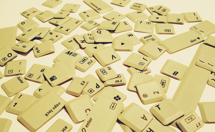 Scattered computer keys.