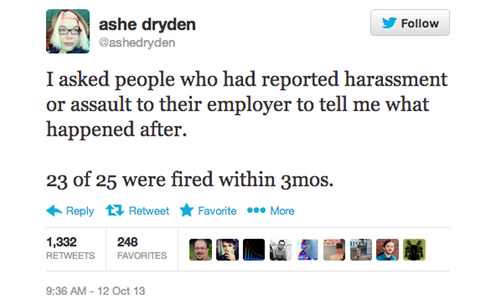 Tweet that reads 'I asked people who had reported harassment or assault to their employer to tell me what happened after. 23 of 25 were fired within 3 months.' by user ashedryden.