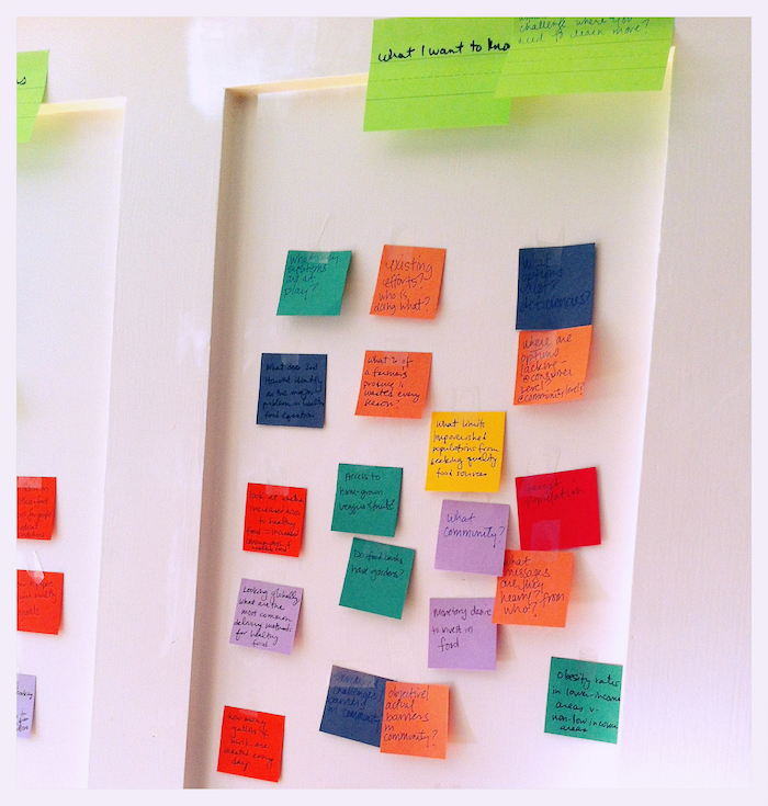 Photo of a white wall covered with sticky notes as part of the design process. Many of the notes are difficult to make out, but say things like 'What I want to know', 'What community?' 'Existing efforts? Who is doing what?'.