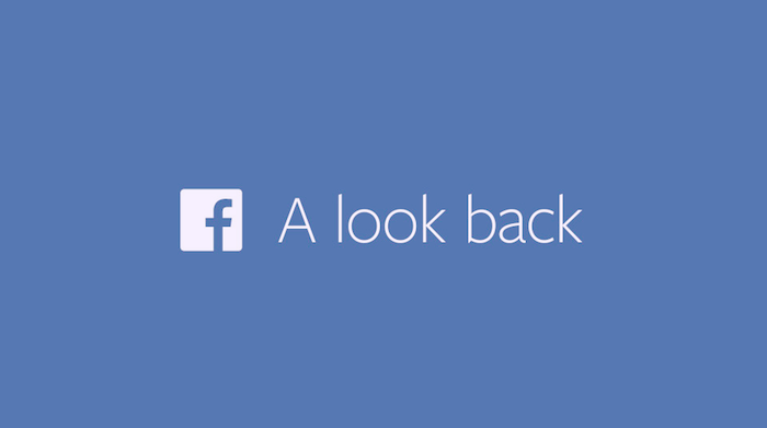 Screen shot of an ad with the Facebook logo and text A look back.