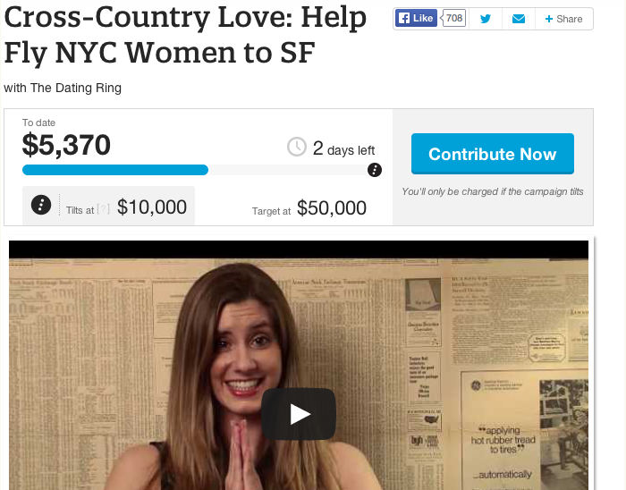 The Dating Ring startup's crowdtilt page for 'Cross-Country Love: Help Fly NYC Women to SF' attempting to fundraise $50k. The promo video below shows a woman smiling with her hands in a praying gesture.