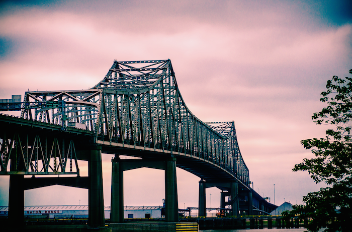 Image of a bridge at sunset in Baton Rouge.