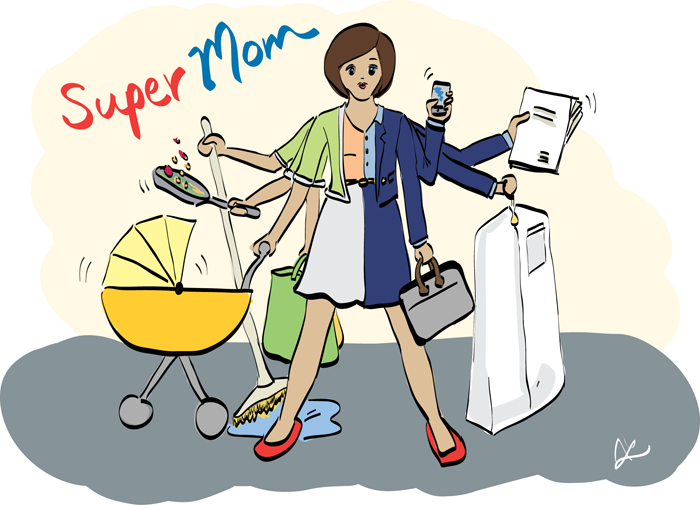 The Author's re-creation of her childhood 'Super Mom' drawing, described above.