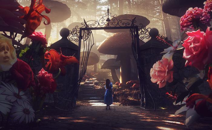 Illustration of Alice in Wonderland standing before a huge gate in a garden.