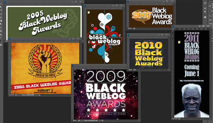 Logos for the Black Weblog Awards, 2005-2011.