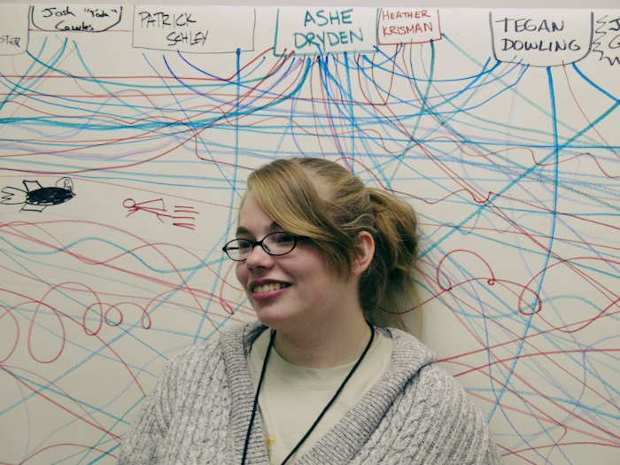 Photo of the author standing in front of a whiteboard illustrating her many social connections.