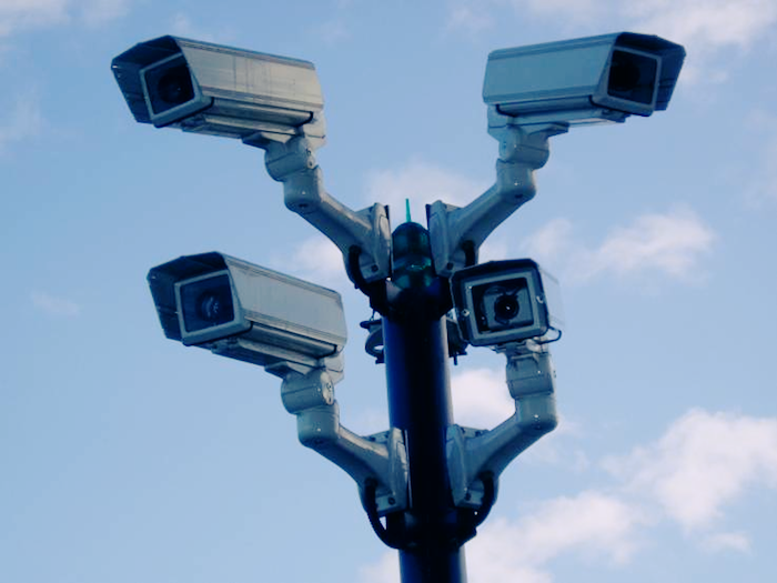 Photo of surveillance cameras.