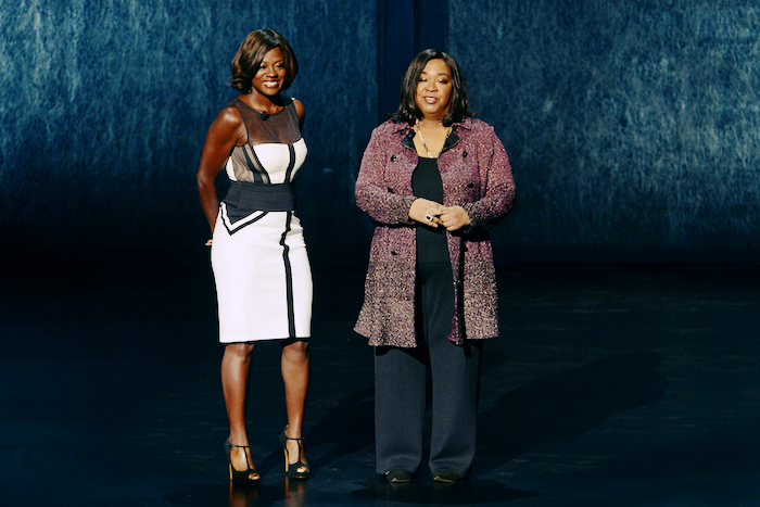 Photo of Shonda Rhimes and Viola Davis on stage.