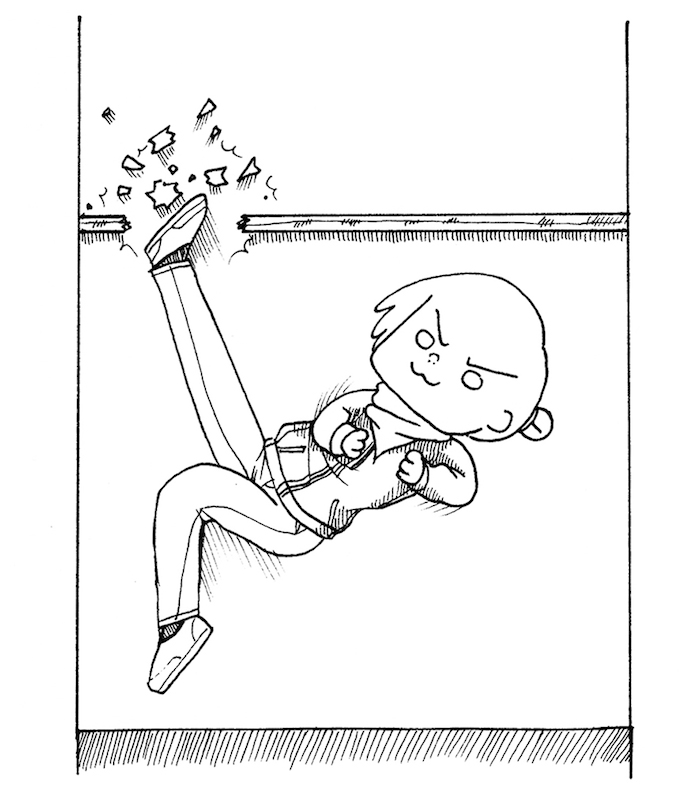 Drawing of a person kicking through a glass ceiling.