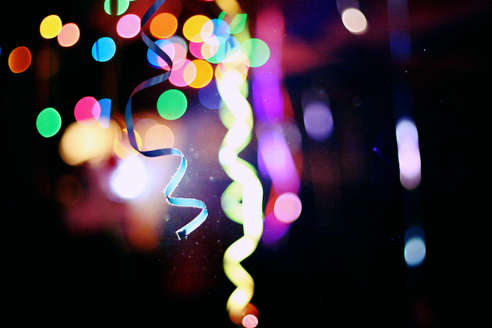 Confetti, bright lights and streamers.