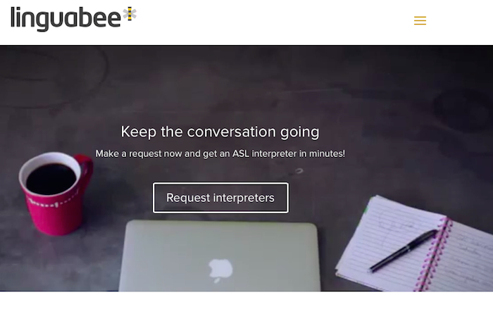 The Linguabee home page, which says 'Keep the conversation going' and has a link to request interpreters.
