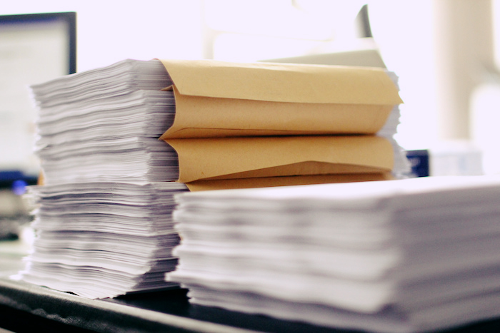 A stack of papers.
