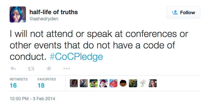 Tweet from user @ashedryden reading 'I will not attend or speak at conferences or other events that do not have a code of conduct. #CoCPledge'