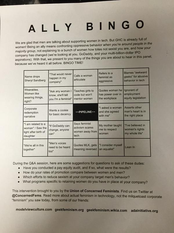 A bingo card with categories including 'Name drops Sheryl Sandberg', 'That would never happen in my company', 'Pipeline', 'We're all in this together', 'Men's voices need to be heard too', 'Lean In', and 'Says feminist activism scares women away from tech.'