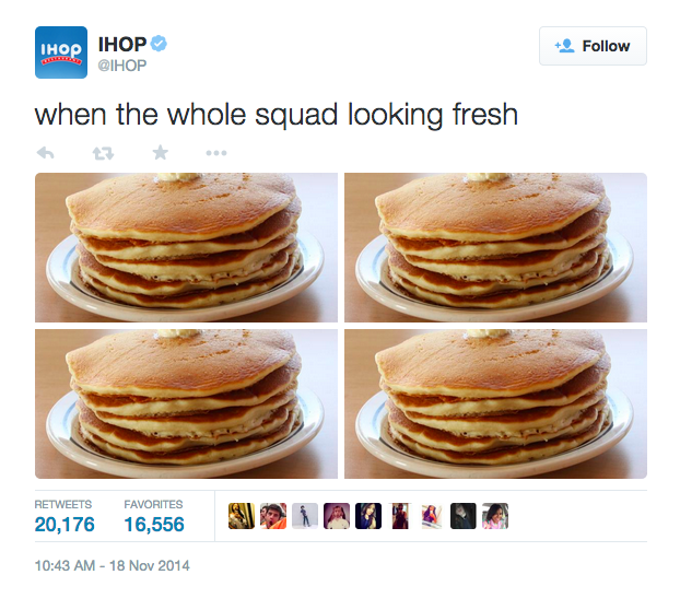 Tweet from IHOP which reads 'When the whole squad looking fresh' and four identical photos of a pancake stack. It has been retweeted over 20,000 times.