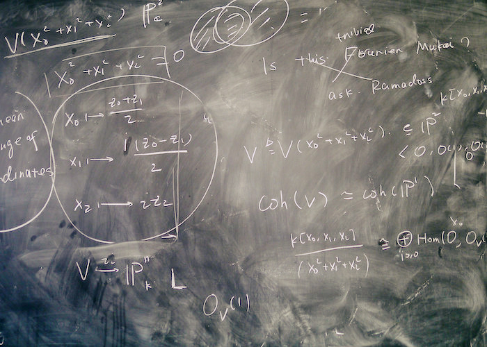 Chalkboard with math equations.
