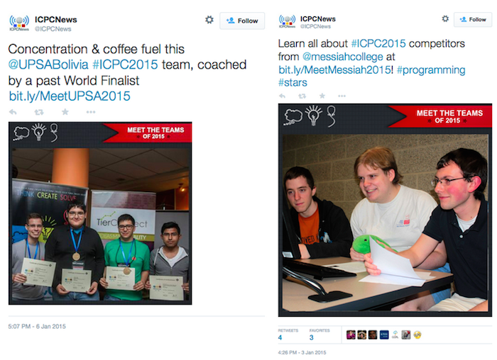 Two tweets from user ICPC News, featuring photos of male competitors in the ACM International Collegiate Programming Contest.