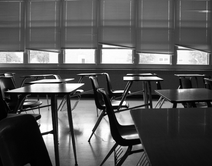 Chairs in a classroom.