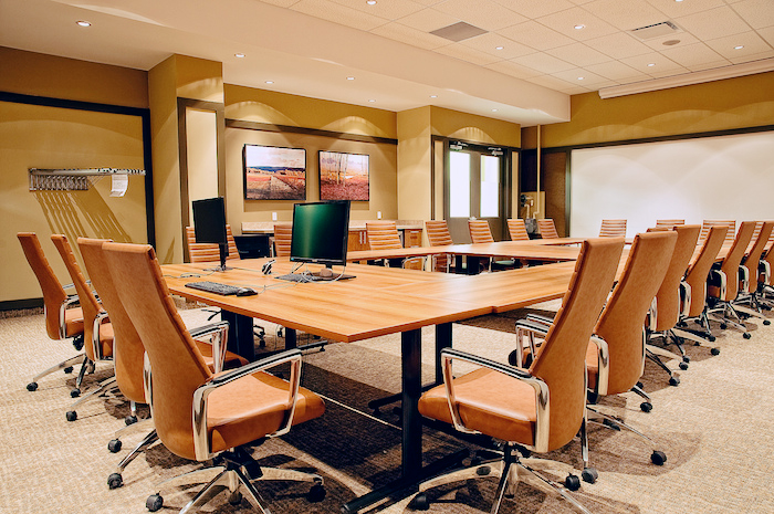 Photo of an empty boardroom.