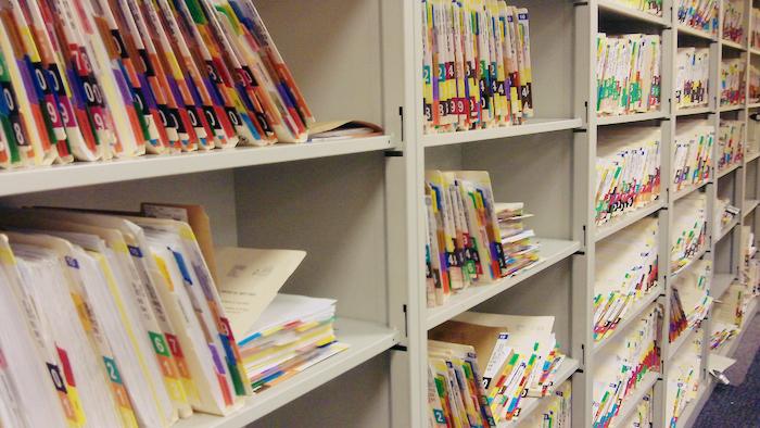 Shelves of patient records.