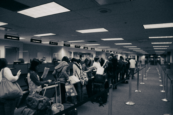 Canadian immigration line at an airport.