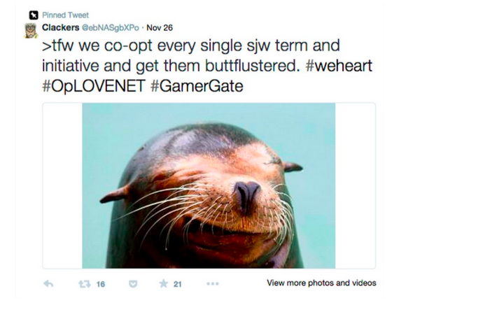 Screenshot from a Twitter user reading 'tfw we co-opt every single sjw term and initiative and get them buttflustered.' It is tagged with the hashtags weheart, OpLOVENET and GamerGate, and includes a picture of a sea lion.