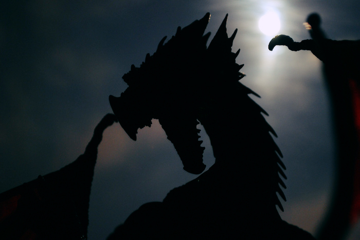 A dragon rears against a full moon.