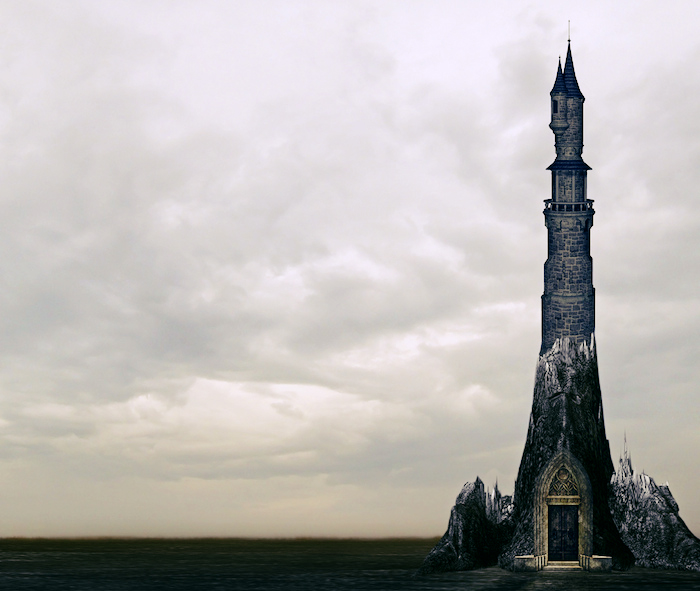 A lone tower rising high against a stormy sky.
