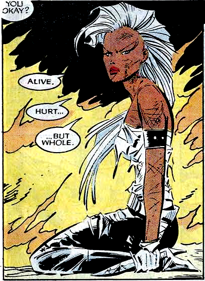 Comic panel of Mohawk Storm. Someone off panel asks 'You okay?'. Storm responds 'Alive.... hurt.... but whole.'