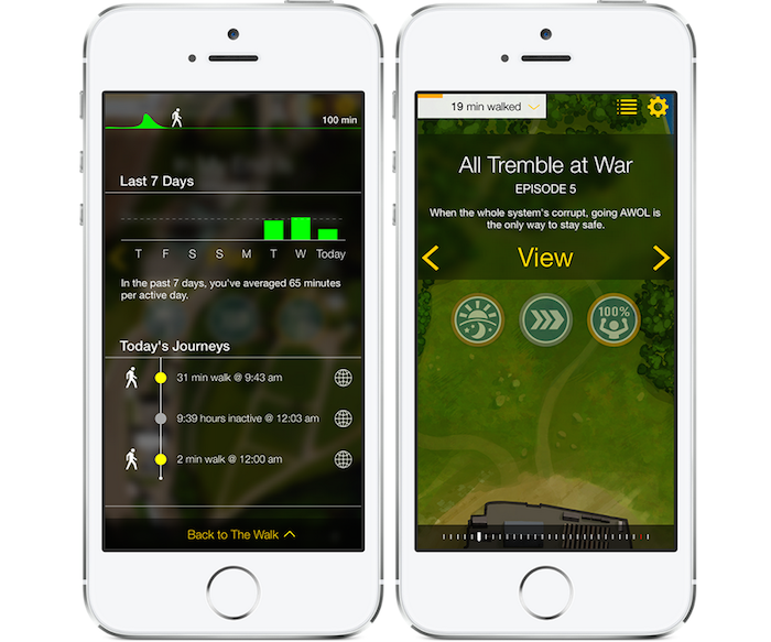 Screenshots from the Walk app, on the left a display of minutes of activity over the past seven days; on the right the opening screen to Episode 5, reading 'All Tremble at War - When the whole system's corrupt, going AWOL is the only way to stay safe.'
