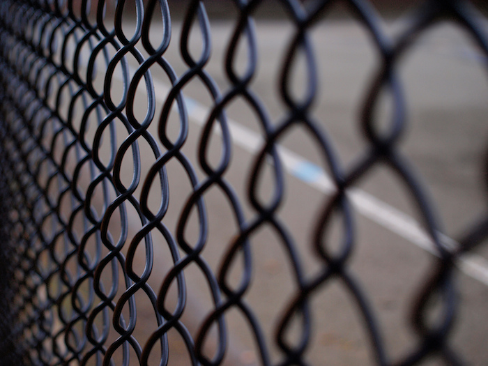 A chain-link fence.