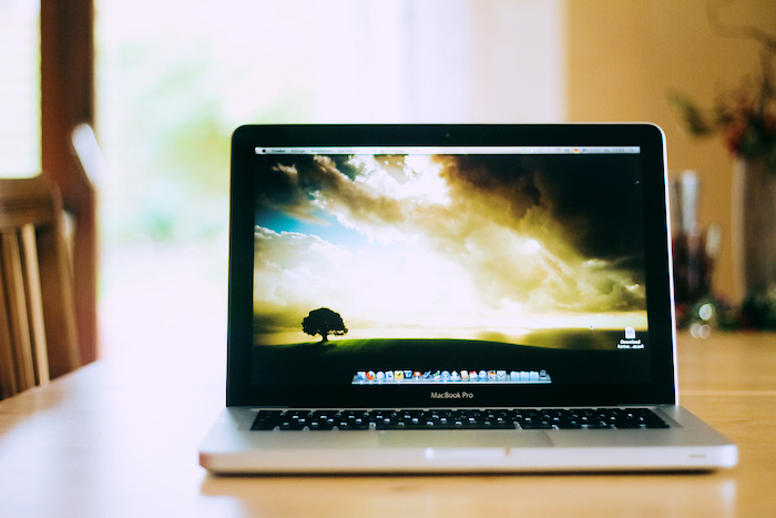 Serene, pastoral background on a Mac Book.