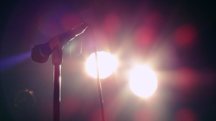 Microphone with stage lights.