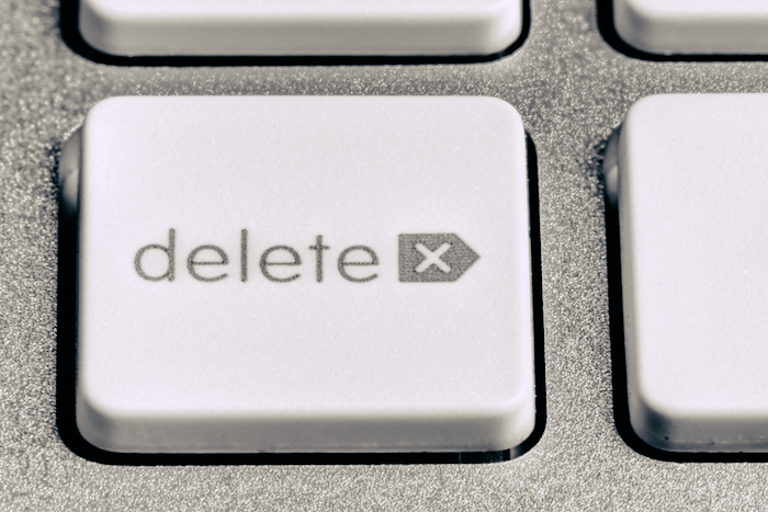 Close-up of a delete key.