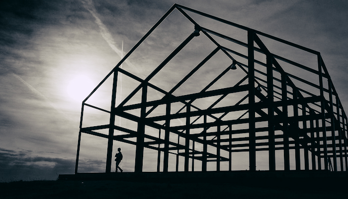 Framework of a house that's still being built.