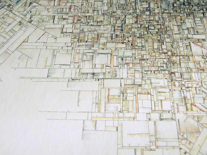 Geometrical grid, as if outlining a crowded city.