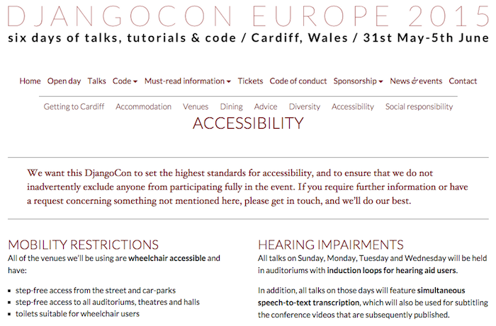 Accessibility page for DjangoCon Europe. Highlights information on the venue and accommodations, including wheelchair accessibility, speech-to-text transcription, interpreting and more.