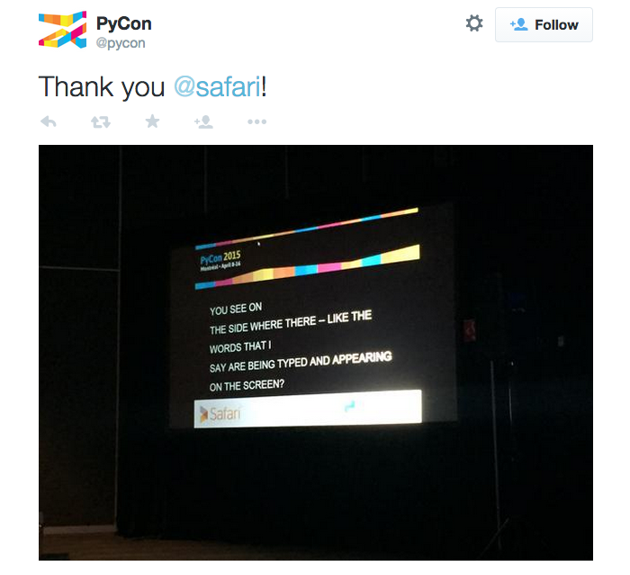 Tweet from PyCon illustrating live captioning, sponsored by Safari.
