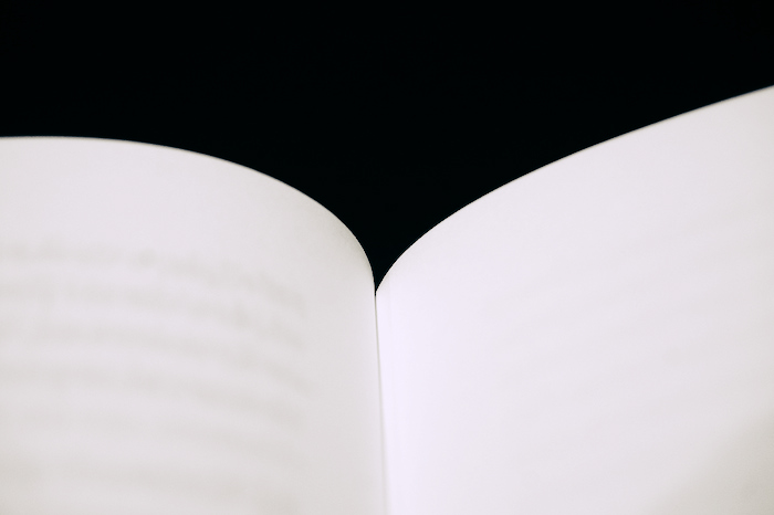 Open book, the text so faint you can't read it.