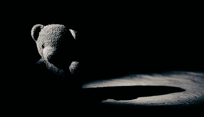 A stuffed bear in black and white, casting long eerie shadows on the wooden floor.