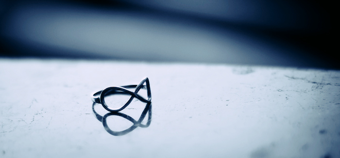 A ring in the shape of the infinity symbol.