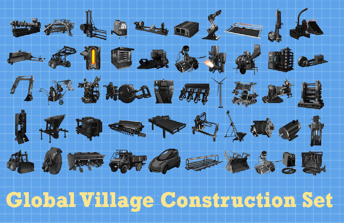 Icons for the Global Village Construction Set, including several vehicles, a windmill, microscope, bulldozer, and other tools.