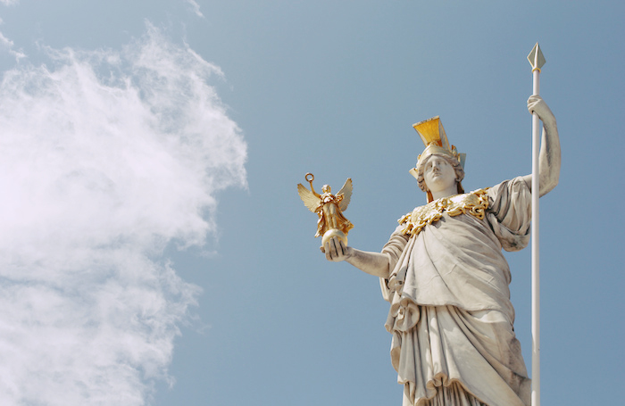 Golden statue of Athena.