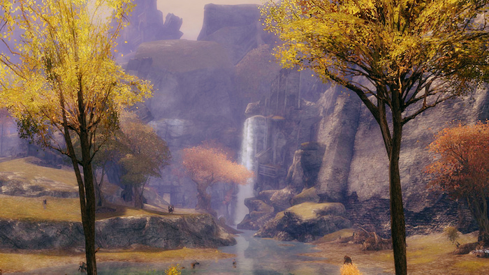 Serene, peaceful waterfall from Guild Wars 2.