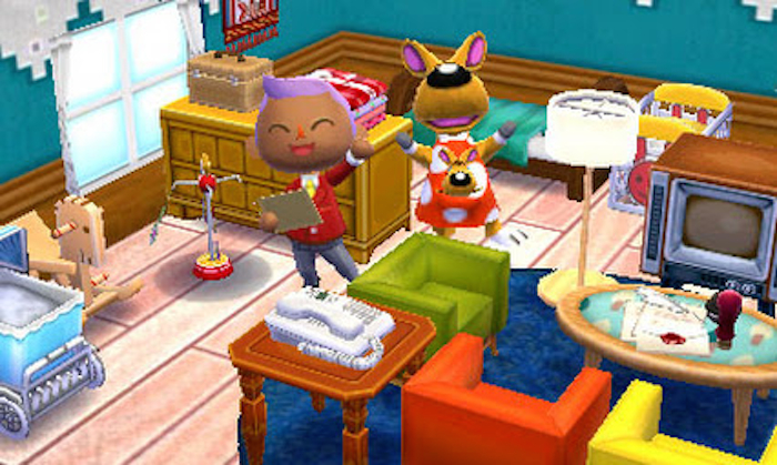 Screenshot from Animal Crossing with a brown human character alongside a Kangaroo.