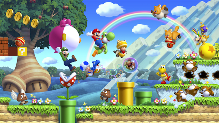 Artwork from the new Super Mario Bros, featuring Mario, Luigi, Yoshi, and classic game elements like pipes, coins and Question blocks.