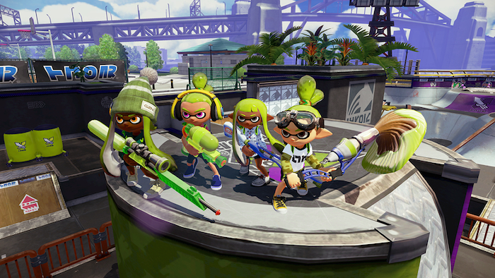 Characters from Splatoon, customized with the skin tone feature.