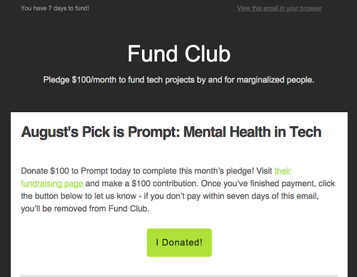 Email Template for Fund Club. Reads: August's Pick is Prompt: Mental Health in Tech