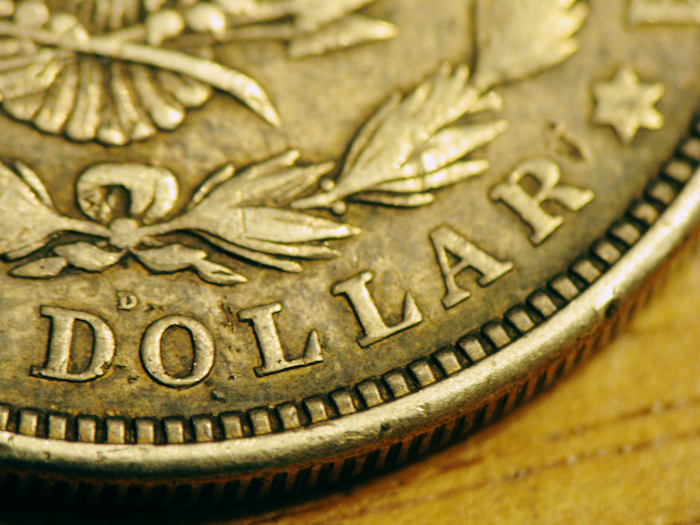 Close-up of a dollar coin.